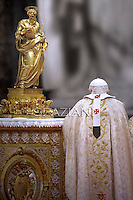 Pope Benedict XVI  during the mass in solemnity of the chair of St. Peter with new Cardinals in St. Peter's basilica at the Vatican on February 19, 2012
