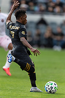 LOS ANGELES, CA - MARCH 01: Latif Blessing #7 of LAFC attempts a shot in a match against Inter Miami CF during a game between Inter Miami CF and Los Angeles FC at Banc of California Stadium on March 01, 2020 in Los Angeles, California.