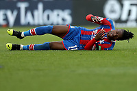 3rd November 2019; Selhurst Park, London, England; English Premier League Football, Crystal Palace versus Leicester City; Wilfried Zaha of Crystal Palace falls to the floor after losing his footing - Strictly Editorial Use Only. No use with unauthorized audio, video, data, fixture lists, club/league logos or 'live' services. Online in-match use limited to 120 images, no video emulation. No use in betting, games or single club/league/player publications
