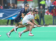 College Park, MD - May 19, 2018: Maryland Terrapins Megan Whittle (23) gets the groundball during the quarterfinal game between Navy and Maryland at  Field Hockey and Lacrosse Complex in College Park, MD.  (Photo by Elliott Brown/Media Images International)