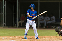 AZL Cubs 2 center fielder Cole Roederer (34) at bat during an Arizona League game against the AZL Indians 2 at Sloan Park on August 2, 2018 in Mesa, Arizona. The AZL Indians 2 defeated the AZL Cubs 2 by a score of 9-8. (Zachary Lucy/Four Seam Images)