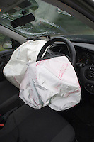 Deployed airbags and broken windscreen in a car after a road traffic accident.©shoutpictures.com..john@shoutpictures.com
