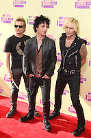 LOS ANGELES, CA - SEPTEMBER 06: Tre Cool, Billie Joe Armstrong and Mike Dirnt at the 2012 MTV Video Music Awards at The Staples Center on September 6, 2012 in Los Angeles, California. &copy;&nbsp;mpi28/MediaPunch inc. /NortePhoto.com<br />
