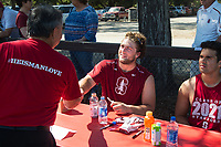 STANFORD, CA -- April 14, 2018. <br /> Tucker Fisk with fan after the 2018 Stanford Spring Football game Saturday afternoon at the Laird Q. Cagan Stadium.