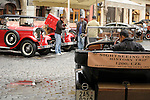 Antique cars now offer tourists rides through Prague, Czech Republic.