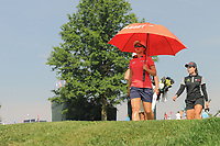 Sei Young Kim (KOR) and Moriya Jutanugarn (THA) depart the 16th tee during Thursday's first round of the 72nd U.S. Women's Open Championship, at Trump National Golf Club, Bedminster, New Jersey. 7/13/2017.<br /> Picture: Golffile | Ken Murray<br /> <br /> <br /> All photo usage must carry mandatory copyright credit (&copy; Golffile | Ken Murray)