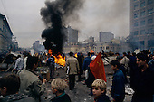 Moscow, Russia.October 1, 1993..Anti-Yeltsin communist supporters/demonstrators take to the streets of Moscow to build barricades and set fires to protest new government reforms...