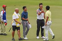 Yuxin LIN (CHN) congratulates Takumi KANAYA (JPN) for winning the Asia-Pacific Amateur Championship, Sentosa Golf Club, Singapore. 10/7/2018.<br /> Picture: Golffile | Ken Murray<br /> <br /> <br /> All photo usage must carry mandatory copyright credit (&copy; Golffile | Ken Murray)
