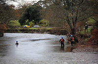 Pictured: Divers search river Ogmore near Stormy Down, Wales, UK. Tuesday 22 November 2016<br />Re: The search has resumed for Russell Sherwood, 69, who went missing in river Ogmore, Bridgend County on Sunday.<br />Sherwood, of Cilfrew, Neath, was heading for Ewenny in the Vale of Glamorgan during heavy rain in the morning but never arrived.<br />He disappeared at Stormy Down and car parts were found on the river bank.<br />South Wales Police have confirmed registration plates recovered from a bumper match Mr Sherwood's car.