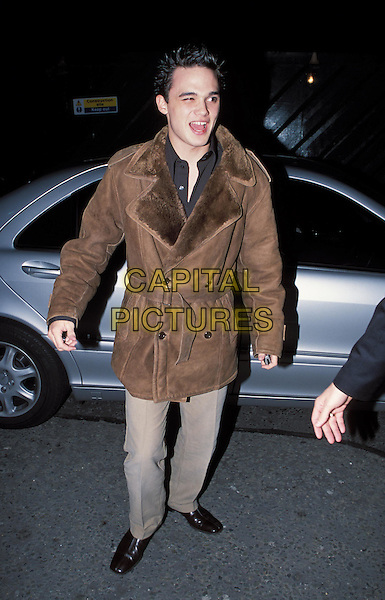 GARETH GATES.attends Westlife's album launch party at Zuma Bar.sales@capitalpictures.com.www.capitalpictures.com.©Capital Pictures.sheepskin jacket, coat, belted