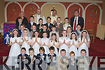 Children from Caheralheen National School, who made their Holy Communion on Saturday in The Church of the Immaculate Conception, Rathass, Tralee.Ciara?n Sears, Doiminic Craig, Sarah Hoare, jack Moynihan, Cathal McLoughlin, Graham Hudson, Anna Shaughnessy,Darrion Hurley, Lucy Murphy, David Tangney, Emma O'Keeffe, Alex O'Shea, Colm Atkinson, Niall Carr, Ethan Dobbin, Cian Canavan, Ecelyn Hayes, Jack Costello, Clodagh McHugh, Ben Foley, Tadgh Broderick, David McCarthy, Kelly Flannery, Se?amus harty, Sea?n Foley O'Brien, Evan Lowham and Ciara Lynch. Nuala Murphy (teacher), Fr , Fr Padraig Kennelly and Donal O'Connor (principal)..