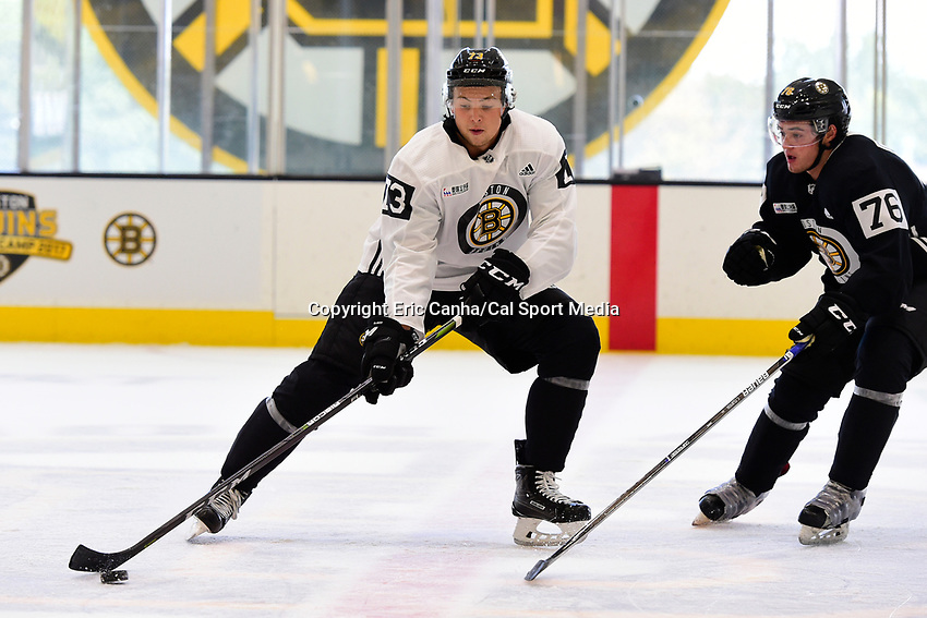 September 15, 2017: Boston Bruins right defenseman Charlie McAvoy (73) drills with defenseman Connor Clifton (76) during the Boston Bruins training camp held at Warrior Ice Arena in Brighton, Massachusetts. Eric Canha/CSM