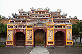 VIETNAM, Hue, an ornate painted entry gate at the Citadel in Hue