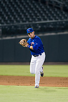 AZL Cubs third baseman Cam Balego (82) prepares to make a throw to first base against the AZL Giants on September 6, 2017 at Sloan Park in Mesa, Arizona. AZL Giants defeated the AZL Cubs 6-5 to even up the Arizona League Championship Series at one game a piece. (Zachary Lucy/Four Seam Images)