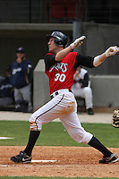 Todd Frazier of the Carolina Mudcats hitting against  the Huntsville Stars on April 22, 2009 at Five County Stadium in Zebulon, NC