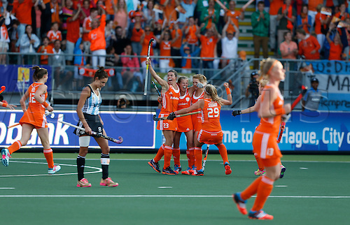 12.06.2014. The hague, Netherlands. Netherlands versus Argentina, semi-final Womens  Rabobank Hockey World Cup 2014. The game ended 4-0 with Netherlands making the final. Goal is scored for 3-0