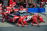 Oct 5, 2008; Talladega, AL, USA; NASCAR Sprint Cup Series driver Carl Edwards pits during the Amp Energy 500 at the Talladega Superspeedway. Mandatory Credit: Mark J. Rebilas-