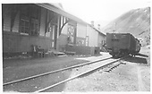 Coal cars in front of Crested Butte Depot.<br /> D&amp;RGW  Crested Butte, CO  1948