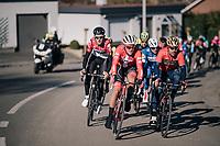 Sonny Colbrelli (ITA/Bahrain-Merida), Mads Pedersen (DEN/Trek-Segafredo) &amp; Tiesj Benoot (BEL/Lotto-Soudal) at the front of the peloton<br /> <br /> 70th Kuurne-Brussel-Kuurne 2018<br /> Kuurne &rsaquo; Kuurne: 200km (BELGIUM)