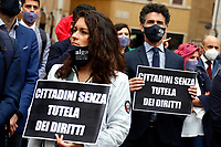 Young lawyers showing banners during the demonstration AIGA, Association of Young Lawyers, in Montecitorio Square, to ask the Government a quick restart of justice activities after the stop due to the Coronavirus pandemic. The banner says Citizens without protection of rights. Rome (Italy) June 11th 2020<br />  <br /> <br /> Photo Samantha Zucchi Insidefoto