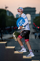 Closing Podium Ceremony: Tadej Pogačar (SVN/UAE-Emirates) (also) takes the White Jersey home as the best young rider<br /> <br /> Stage 21 from Mantes-la-Jolie to Paris (122km)<br /> <br /> 107th Tour de France 2020 (2.UWT)<br /> (the 'postponed edition' held in september)<br /> <br /> ©kramon