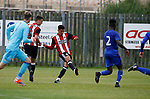Tyler Smith of Sheffield Utd scores the first goal during the professional development league two match at the Bracken Moor Stadium, Stocksbridge. Picture date 21st August 2017. Picture credit should read: Simon Bellis/Sportimage