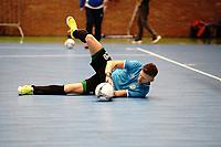 20191010 - HALLE: Halle-Gooik's GK Zaramello is warming up before the UEFA Futsal Champions League Main Round match between FP Halle-Gooik (BEL) and Kherson (UKR) on1 0th October 2019 at De Bres Sportcomplex, Halle, Belgium. PHOTO SPORTPIX | SEVIL OKTEM