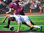 DeSmet's Thomas Redmond (top) and Francis Howell Central's Gino Buffa grapple for possession of the ball in front of the goal. DeSmet defeated Francis Howell Central 2-1 on Saturday September 14, 2019.<br /> Tim Vizer/Special to STLhighschoolsports.com
