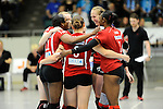 Rüsselsheim, Germany, April 13: Rote Raben Vilsbiburg celebrate after winning a point during play off Game 1 in the best of three series in the semifinal of the DVL (Deutsche Volleyball-Bundesliga Damen) season 2013/2014 between the VC Wiesbaden and the Rote Raben Vilsbiburg on April 13, 2014 at Grosssporthalle in Rüsselsheim, Germany. Final score 0:3 (Photo by Dirk Markgraf / www.265-images.com) *** Local caption ***