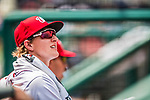 16 August 2017: Washington Nationals outfielder Andrew Stevenson watches play from the dugout during a game against the Los Angeles Angels at Nationals Park in Washington, DC. The Angels defeated the Nationals 3-2 to split their 2-game series. Mandatory Credit: Ed Wolfstein Photo *** RAW (NEF) Image File Available ***