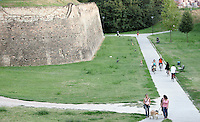Passeggiata lungo le mura di Ferrara.<br /> Walkers and cyclists along the Walls of Ferrara.<br /> UPDATE IMAGES PRESS/Riccardo De Luca