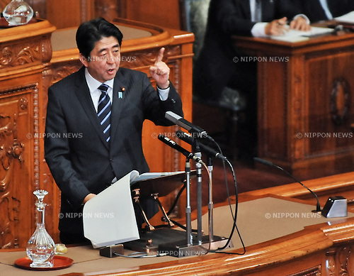 Shinzo Abe, Tokyo, Japa, January 28, 2013 : Japan's Prime Minister Shinzo Abe delivers his policy speech during a plenary session of the House of Councillors in Tokyo, Japan on January 28, 2013. (Photo by AFLO)
