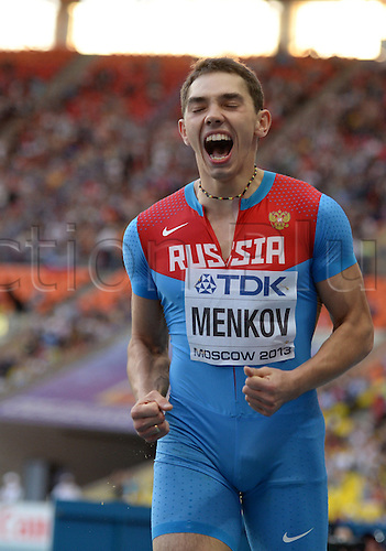 16.08.2013. Moscow, Russia.  Aleksandr Menkov of Russia celebrates after winning the Men's Long Jump Final at the 14th IAAF World Championships in Athletics at Luzhniki Stadium in Moscow, Russia, 16 August 2013.