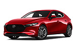 Stock pictures of low aggressive front three quarter view of a 2019 Mazda Mazda-3 Style 5 Door Hatchback