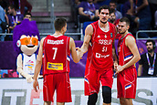7th September 2017, Fenerbahce Arena, Istanbul, Turkey; FIBA Eurobasket Group D; Belgium versus Serbia; Center Boban Marjanovic #51 of Serbia, Shooting Guard Bogdan Bogdanovic #7 of Serbia and Small Forward Marko Guduric #23 of Serbia react during the match