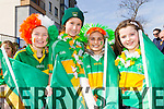 Sophie O'Donoghue, Linda O'Connor, Mayia Rivas McHugh and Ciara Kerins from John Mitchells GAA Club at Tralee Saint Patrick's day parade on Tuesday.