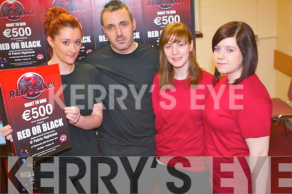 Health and Leisure Students at the Institute of Technoloy in Tralee have organised a fund-raiser for two local charities at Fabric Nightclub on November 30th. .L-R Elizabeth Dooley, Sean O'Brien, Una Griffin and Amanda O'Donoghue.