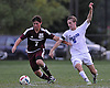 Andrew Lule #5 of Glenn, right, and Devon O'Brien #7 of Southampton battle for possession during the second half of Suffolk County League VI varsity boys soccer game at Glenn High School on Friday, Sept. 9, 2016. Lule scored three goals to lead Glenn to a 6-3 win.