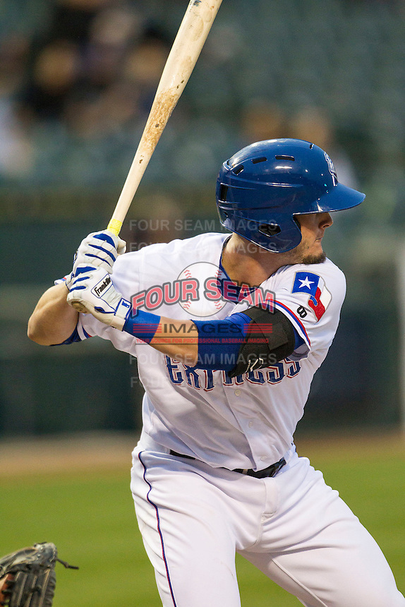 Round Rock Express third baseman Trever Adams (18) at bat during Pacific Coast League game against the Memphis Redbirds on April 21, 2015 at the Dell Diamond in Round Rock, Texas. Round Rock defeated Memphis 2-1. (Andrew Woolley/Four Seam Images)