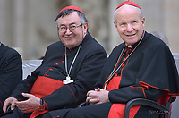 Cardinal Archbishop of Sarajevo Vinko Puljić.Cardinal  Christoph Schönborn.Pope Francis during of a weekly general audience at St Peter's square in Vatican.April 18, 2018