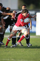 Welsh skipper Sam Warburton sets up another attack against the All Blacks at Ravenhill. Result New Zealand 37 Wales 14.