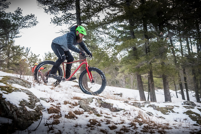 Winter fat biking on the snow covered trails of the Harlow Lake area near Marquette, Michigan.