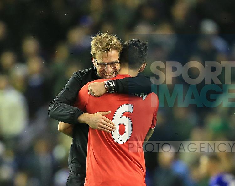 Liverpool's Jurgen Klopp celebrates at the final whistle with Dejan Lovren<br /> <br /> Barclays Premier League- Liverpool vs Leicester City - Anfield - England - 26th December 2015 - Picture David Klein/Sportimage
