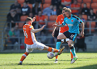 Blackpool's Jimmy Ryan battles with Fleetwood Town's Paddy Madden<br /> <br /> Photographer Mick Walker/CameraSport<br /> <br /> The EFL Sky Bet League One - Blackpool v Fleetwood Town - Saturday 14th April 2018 - Bloomfield Road - Blackpool<br /> <br /> World Copyright &copy; 2018 CameraSport. All rights reserved. 43 Linden Ave. Countesthorpe. Leicester. England. LE8 5PG - Tel: +44 (0) 116 277 4147 - admin@camerasport.com - www.camerasport.com