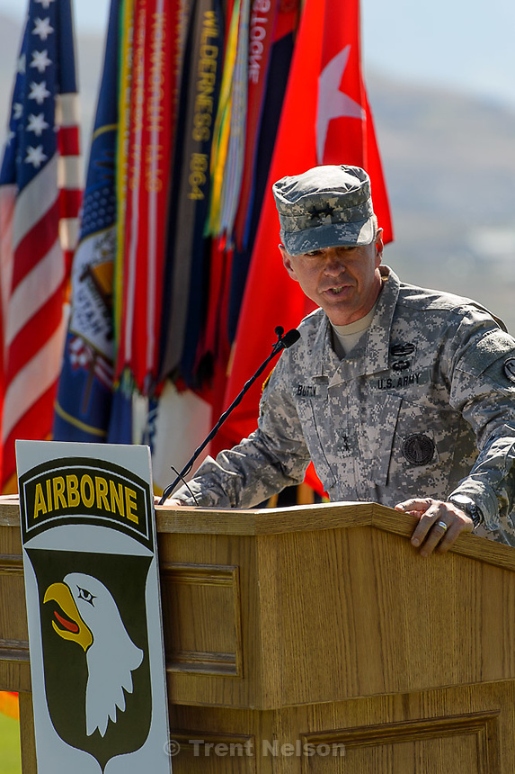 Trent Nelson  |  The Salt Lake Tribune<br /> Major General Jefferson Burton speaks as fifty-three Utah Guardmembers are realigned to the 101st Airborne Division (Air Assault) in an &quot;Old Abe&quot; patch ceremony at Camp Williams in Bluffdale, Friday June 19, 2015.