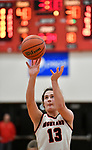 Highland forward Bella LaPorta shoots a free throw. Highland played Civic Memorial in the Class 3A Effingham sectional championship game at Effingham High School in Effingham, Illinois on Thursday February 27, 2020. <br /> Tim Vizer/Special to STLhighschoolsports.com