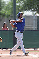 Nick Williams #46 of the Texas Rangers bats during a Minor League Spring Training Game against the Kansas City Royals at the Kansas City Royals Spring Training Complex on March 20, 2014 in Surprise, Arizona. (Larry Goren/Four Seam Images)