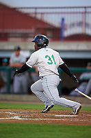 Clinton LumberKings outfielder Arby Fields (31) at bat during a game against the Burlington Bees on August 20, 2015 at Community Field in Burlington, Iowa.  Burlington defeated Clinton 3-2.  (Mike Janes/Four Seam Images)