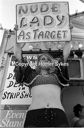 Wally Shufflebottom's knife throwing strip tease fairground act. <br />