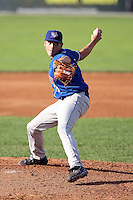 August 7 2008:  Pitcher Dan Farquhar of the Auburn Doubledays, Class-A affiliate of the Toronto Blue Jays, during a game at Dwyer Stadium in Batavia, NY.  Photo by:  Mike Janes/Four Seam Images